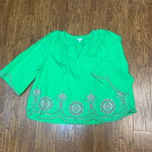 Crown & Ivy bright green Embroidered tunic top 2x